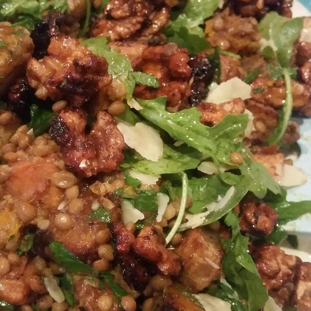 Roasted sweet potato, lentil and walnut salad