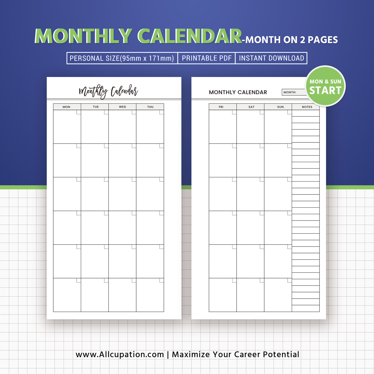Monthly Calendar Month On 2 Pages Printable