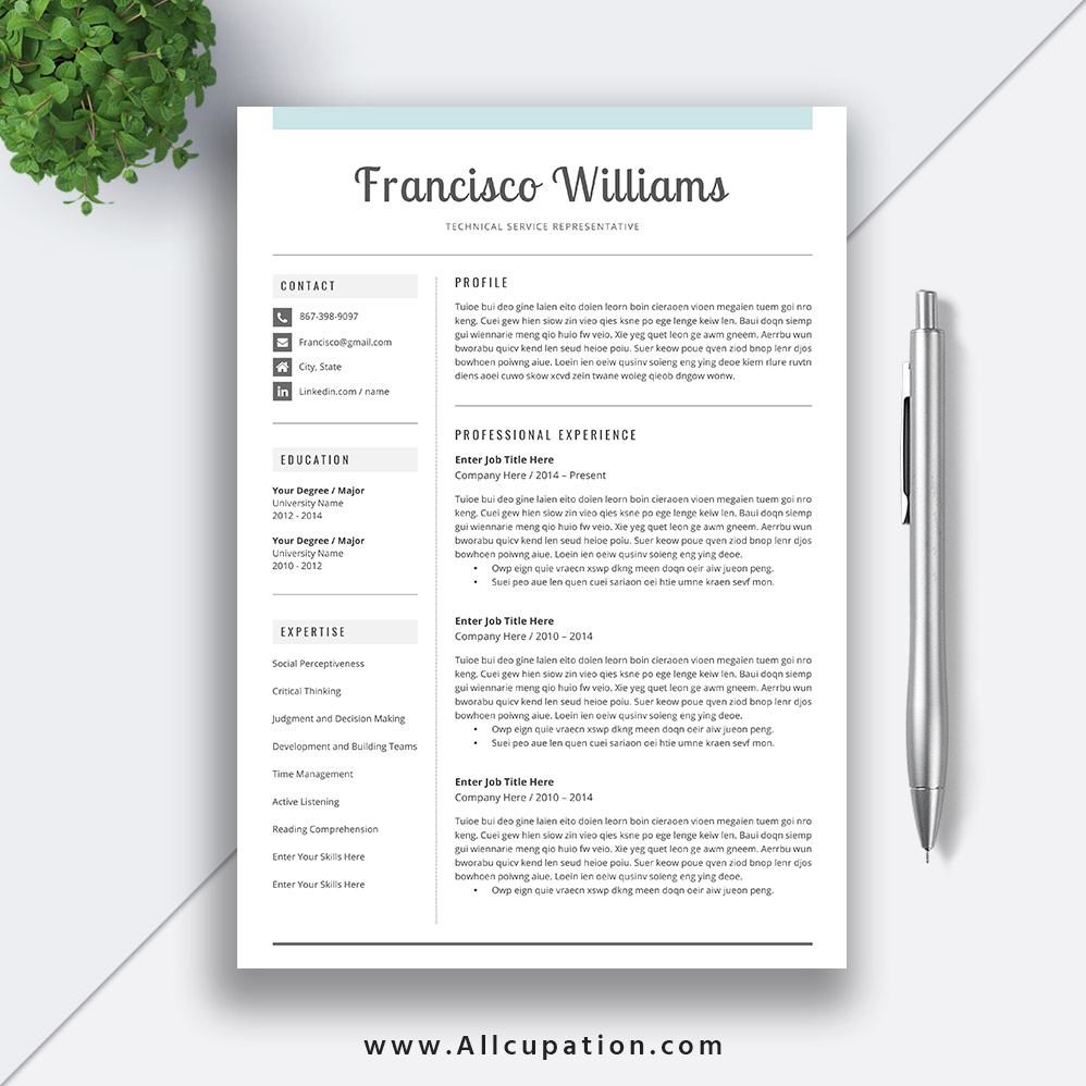 2020 Resume Template Modern Cv Template Word Cover Letter Best Professional Resume Instant Download Mac Pc Francisco