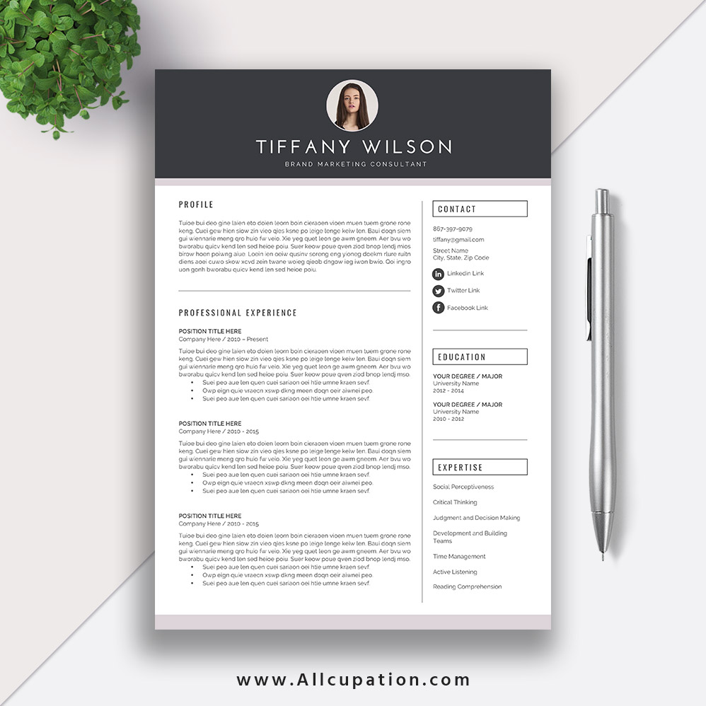 Resume Templates For Job Application Modern Cv Template Cover Letter Cv Layout Word Resume Instant Download Mac Or Pc Tiffany