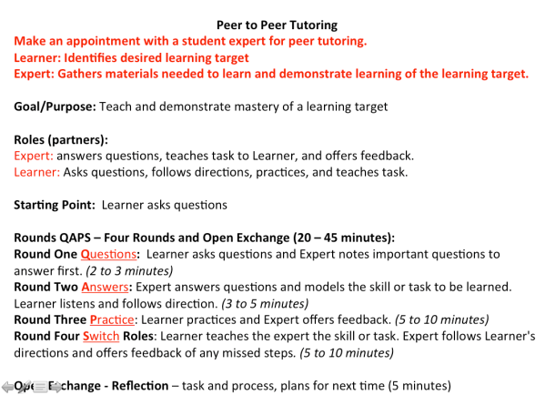 Peer Tutoring with QAPS
