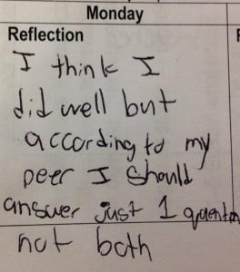 reflection on peer feedback
