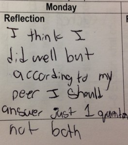 reflection on peer feedback