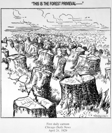"""Herblock's political cartoon, """"This is the Forest Primeval –"""""""