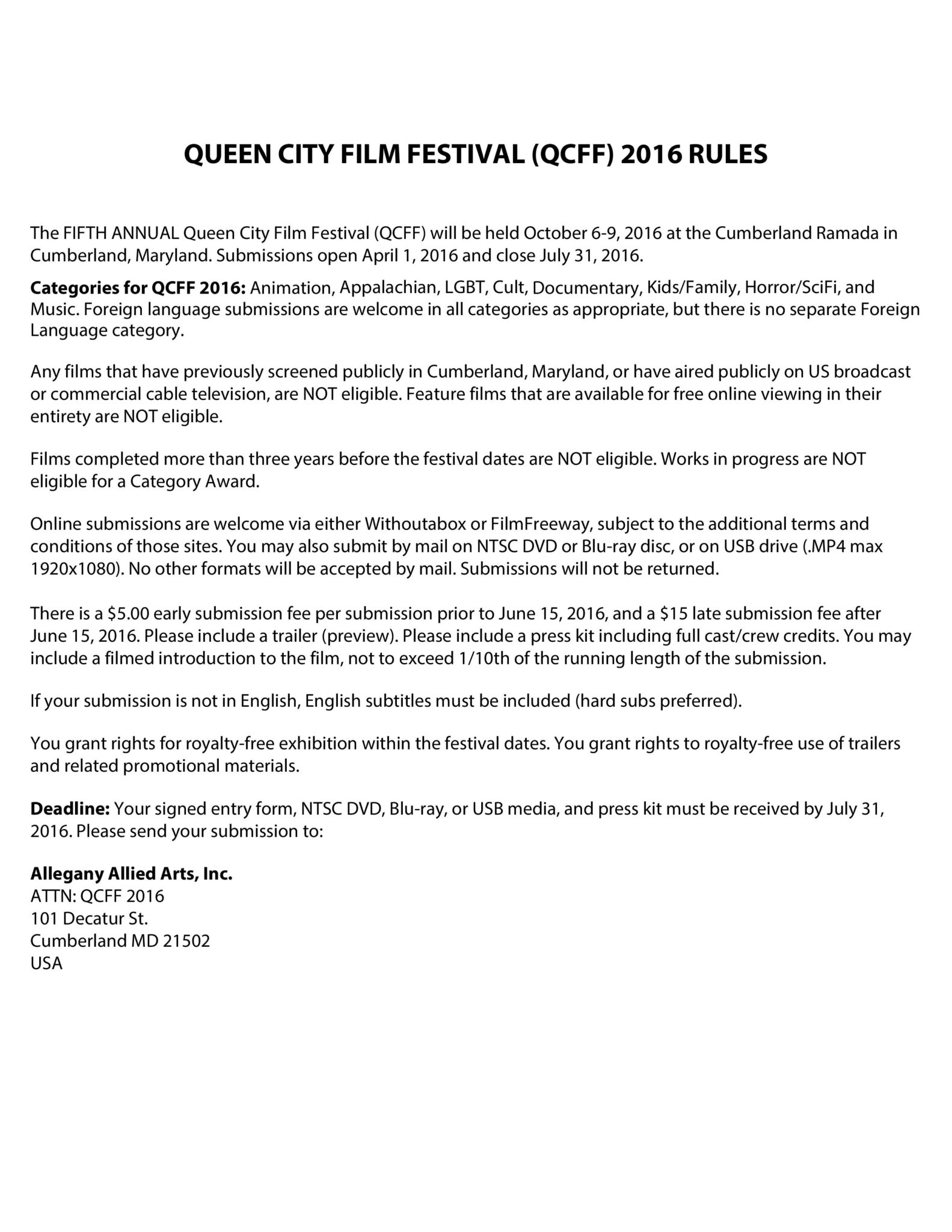 Queen City Film Festival (QCFF) 2016 Rules and Submission