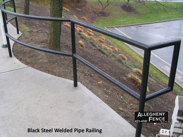 Pittsburgh Industrial Railings And Columns Allegheny Fence   Black Pipe Stair Railing   Diy   90 Degree Stair   Banister   Outdoor Stair   Stainless Steel
