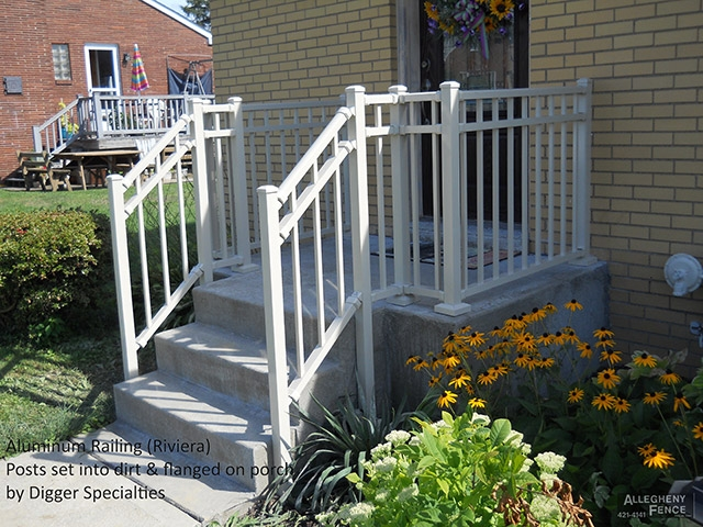 Pittsburgh Residential Railings And Columns Allegheny Fence | Vinyl Railings For Outside Steps | Balusters | Composite | Wood | Precast Concrete Steps | Railing Installation