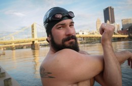 Darren Miller is an open-water marathon swimmer who regularly hits the Three Rivers for long-distance training swims. Photo: Lou Blouin