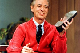 """Fred Rogers rehearses the opening of his PBS show """"Mister Rogers' Neighborhood"""" during June 28, 1989 taping at WQED in Pittsburgh. Photo: Gene J. Puskar via Flickr"""