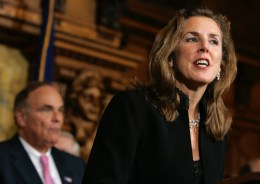 "Kathleen McGinty knows the ""revolving door"" between industry and government in Pennsylvania as well as anyone. Between working in the administration of two democratic governors, McGInty served on the boards of two energy companies and was managing director of a consulting firm that is part of the Marcellus Shale Coalition—the drilling industry's top trade group in Pennsylvania. Photo: AP / Carolyn Kaster"