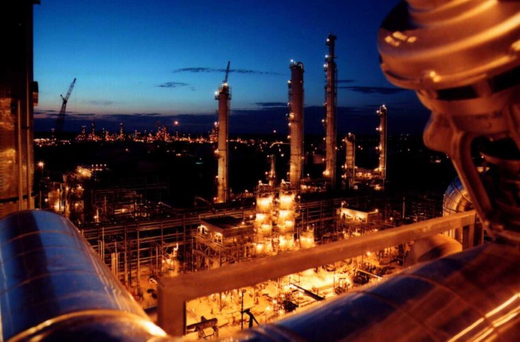 "BASF's ""ethane cracker"" facility in Port Arthur, Texas. An ethane cracker is a petrochemical plant that manufactures the building blocks of plastics. Photo: BASF"