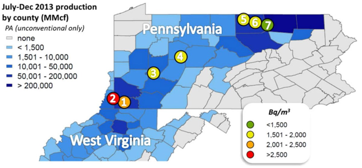 Is the Natural Gas in Your Home Upping Your Radon Risk? - The ... York County Pa Map Of Radon on radon levels, francium map of pa, highest radon in pa, air quality map of pa, radon test kit target, silver map of pa,