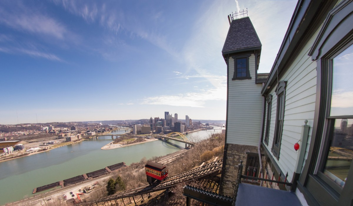 High atop Pittsburgh's southern hills, you can actually watch the Ohio River take form, as the waters of the Allegheny River collide with the Monongahela. Photo: Uprooted Photographer via Flickr