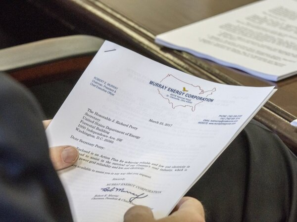 "A photo obtained by The Associated Press shows the cover sheet of a confidential ""action plan"" brought by Robert Murray, of Murray Energy, to a meeting at the Department of Energy headquarters in Washington, D.C. Photo: Simon Edelman/AP"