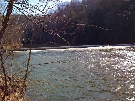 The Fairless Murray dam crossing Slippery Rock Creek at Camp Allegheny in Ellwood City, Pa., before it was removed in 2010 by American Rivers, in partnership with the Salvation Army, which owned the dam. (Photo courtesy of American Rivers)