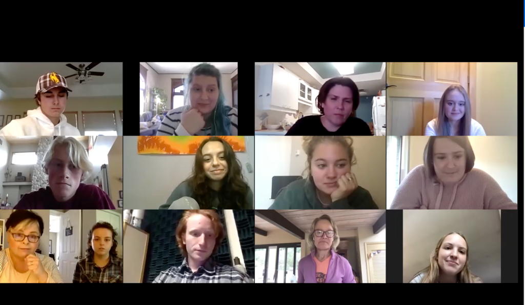 Screen shot of Zoom call with students