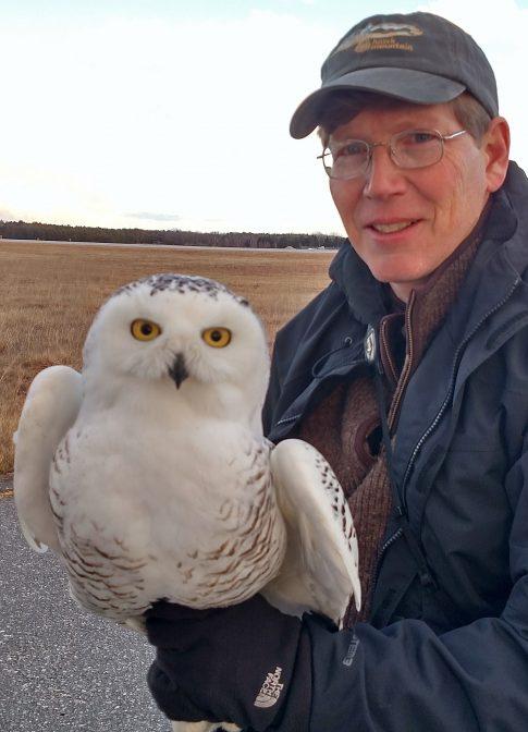 Scott Weidensaul with snowy owl