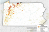 a map of orphan gas wells in Pennsylvania
