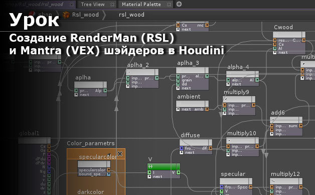 The creation of RenderMan (RSL) and Mantra (VEX) shaders in Houdini