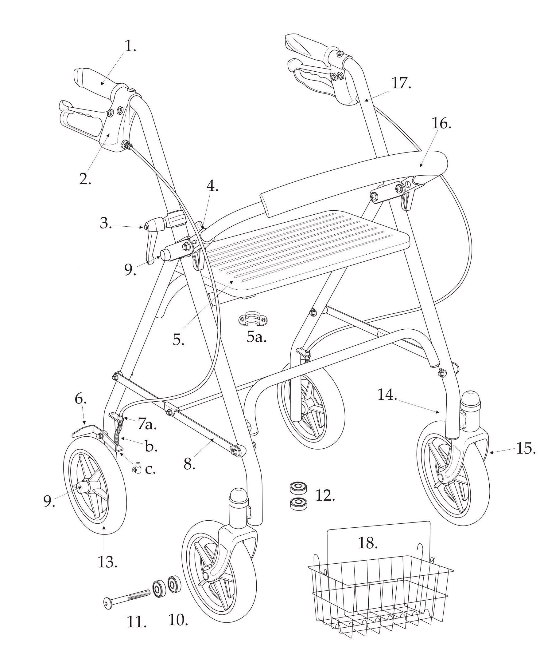 Parts For Drive Four Wheel Rollator Walker Model