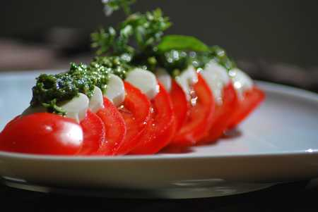 mozzarella mit tomaten und basilikumpesto