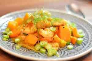 Garnelen-Kürbis-Curry mit Fenchel und Kokosmilch