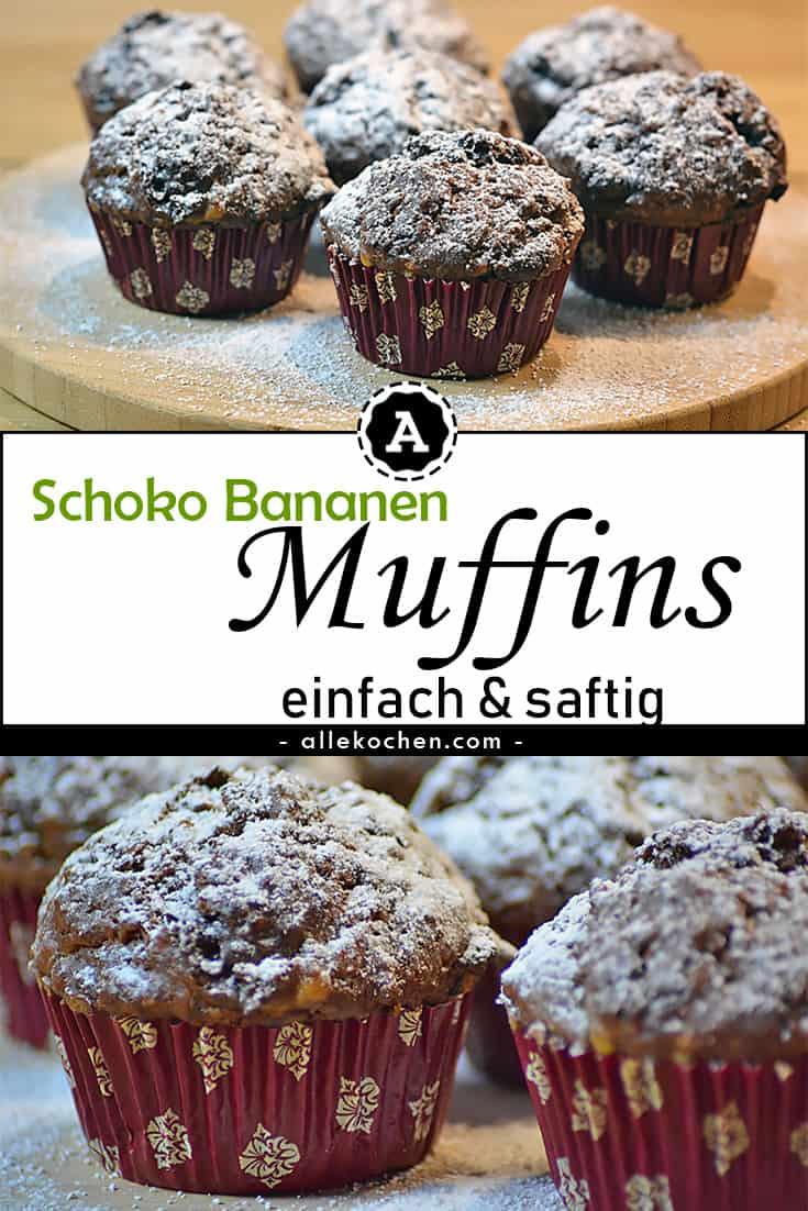 Schoko Bananen Muffins Einfach Backen Mit Ol Allekochen Com