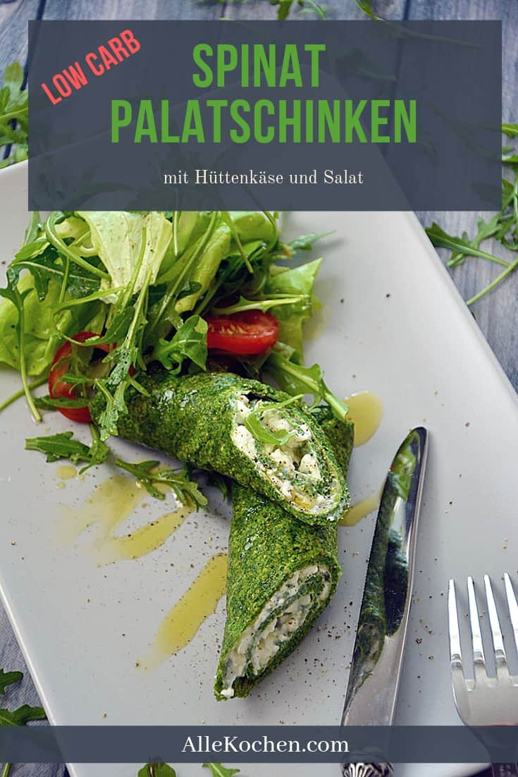 Dieses einfache Rezept für Spinat Palatschinken mit Käse gefüllt ist ein ideales Low Carb Abendessen. Nicht nur gesund!