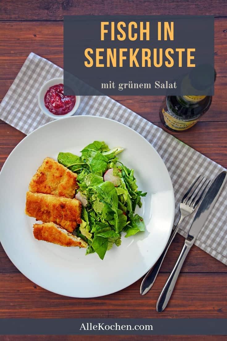 Dieser Fisch in Senfkruste mit grünem Salat ist ein willkommenes Essen für die ganze Familie. Leicht zu machen und schmeckt super. Keine Angst, den Senf schmeckt man kaum raus, das Senfdressing vom Salat ist da viel intensiver.