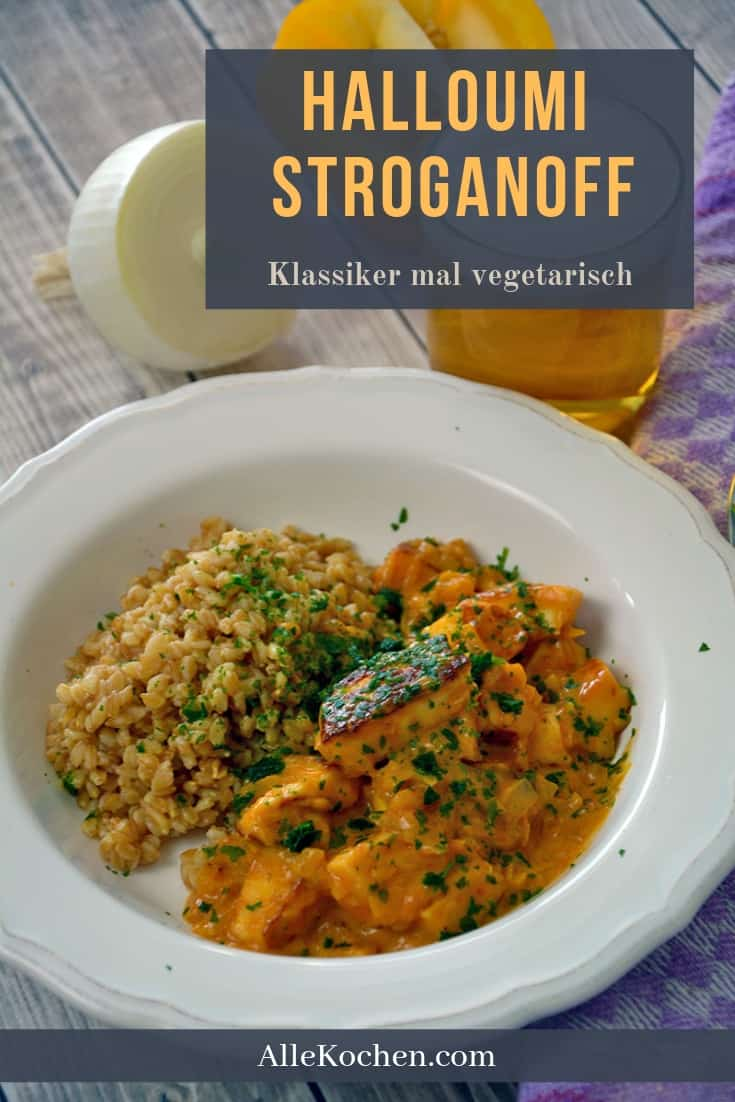 Halloumi Stroganoff mit Einkorn ist die vegetarische Variante des Klassikers Boeuf Stroganoff. In 25 Minuten fertig und schmeckt gleich gut. Einfach und toll für die ganze Familie