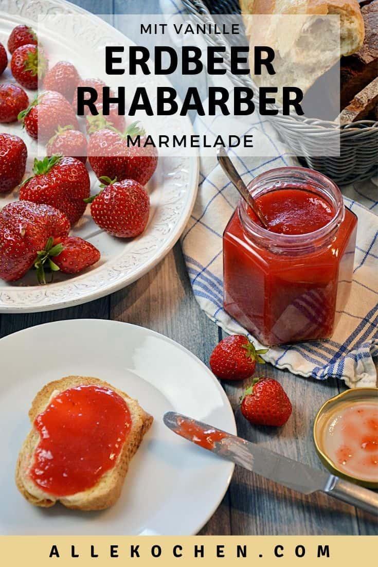Die beste Erdbeer-Rhabarber-Marmelade mit Vanille ist einfach zu machen und schmeckt wunderbar fruchtig. Sie hat nur wenig Zucker aber hat mehr Geschmack