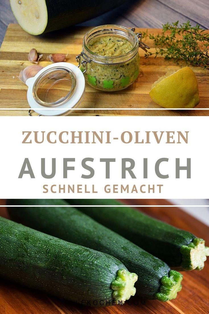 Ein tolles und schnelles Rezept für Zucchini Oliven Aufstrich zum selber machen. Schmeckt wunderbar und passt toll für ein schnelles Abendessen.