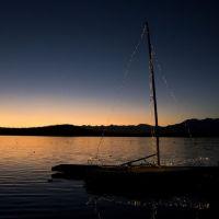 Natale a Viverone - barca al tramoto
