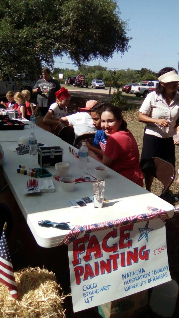 Spicewood, Texas, face painting, independence day