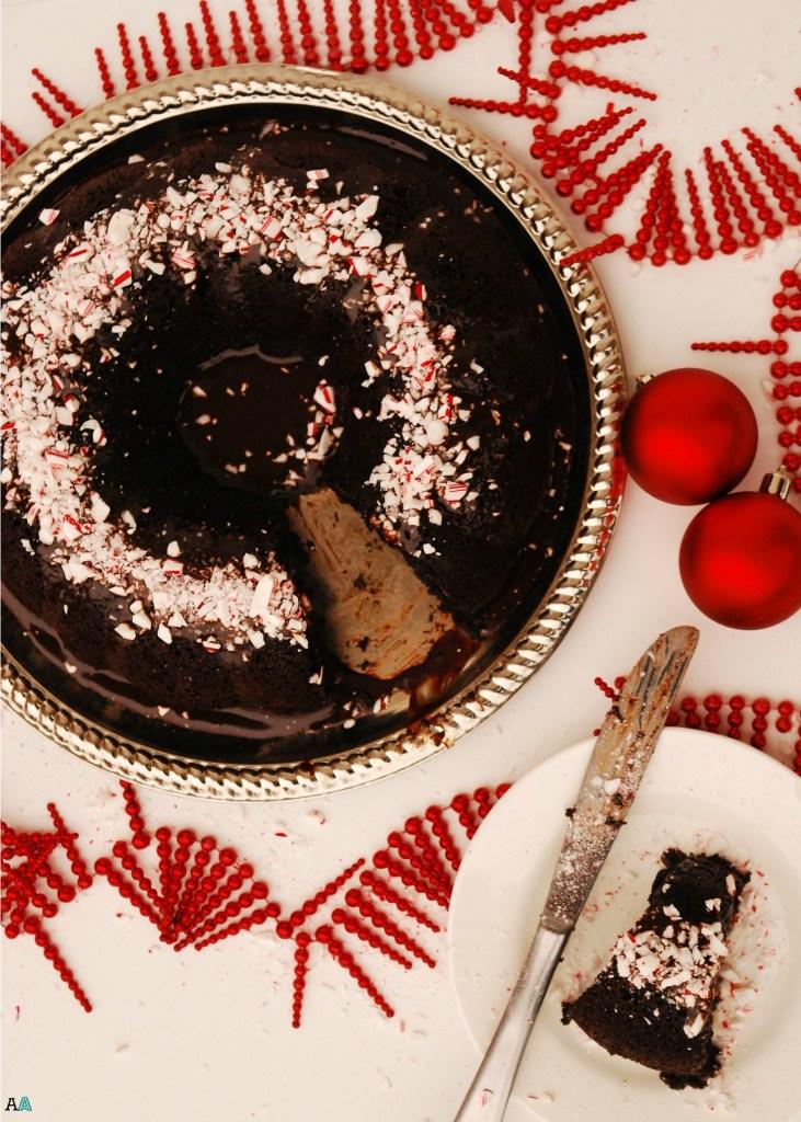 Chocolate Bundt Cake with Dark Peppermint Ganache (GF, DF, Egg, Soy, Peanut/Tree nut Free, Top 8 Free, Vegan)