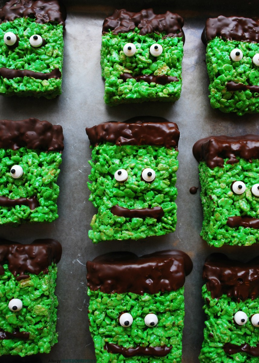 Allergy-friendly Frankenstein Krispies (Gluten, dairy, egg, soy, peanut & tree nut free; vegan option)