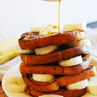 Vegan Banana French Toast (Gluten, dairy, egg, soy, peanut & tree nut free; top 8 free) Breakfast recipe by AllergyAwesomeness.com