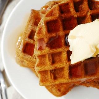 Gluten-free Vegan Gingerbread Waffles. Breakfast recipe by AllergyAwesomeness