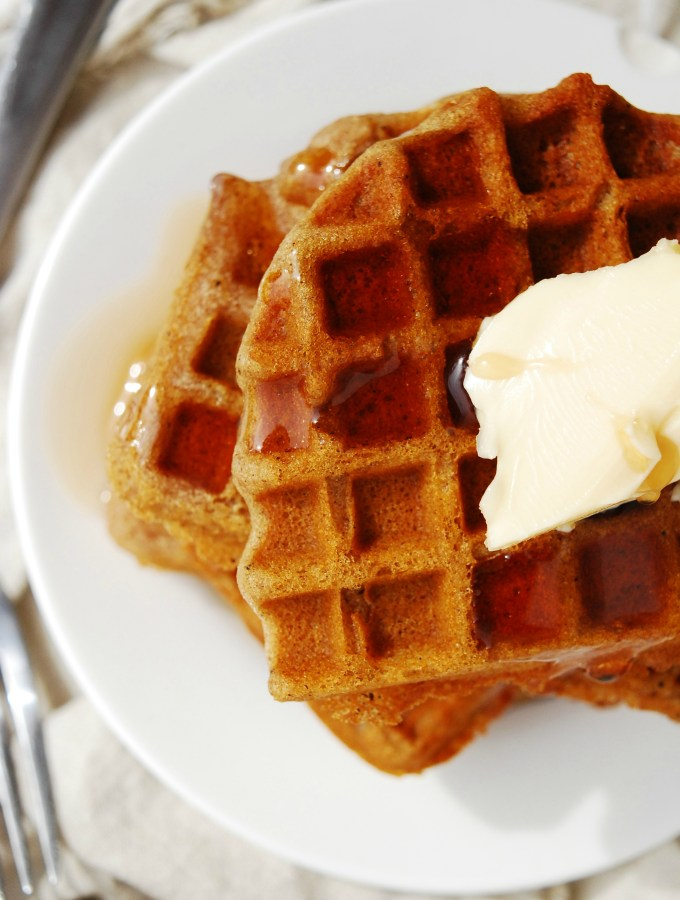 Gluten-free Vegan Gingerbread Waffles. Breakfast recipe by AllergyAwesomeness