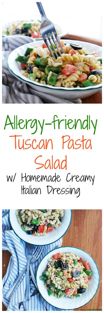 Allergy-friendly Tuscan Pasta Salad by AllergyAwesomeness.com