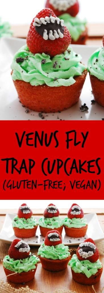 Venus Fly Trap Cupcakes Gluten-free & Vegan Halloween Dessert Recipes by AllergyAwesomeness.com