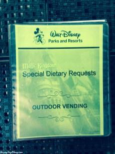 Food allergy ingredients for Disney outdoor carts