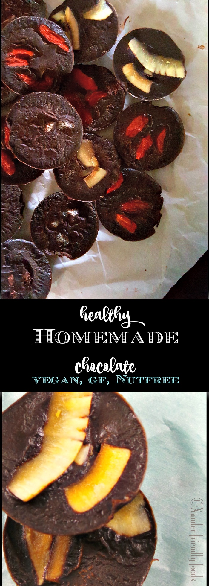 Healthy, yet blissfully delicious, homemade chocolate. A huge indulgence with a little amount of work. www.XanderfriendlyFoods.com