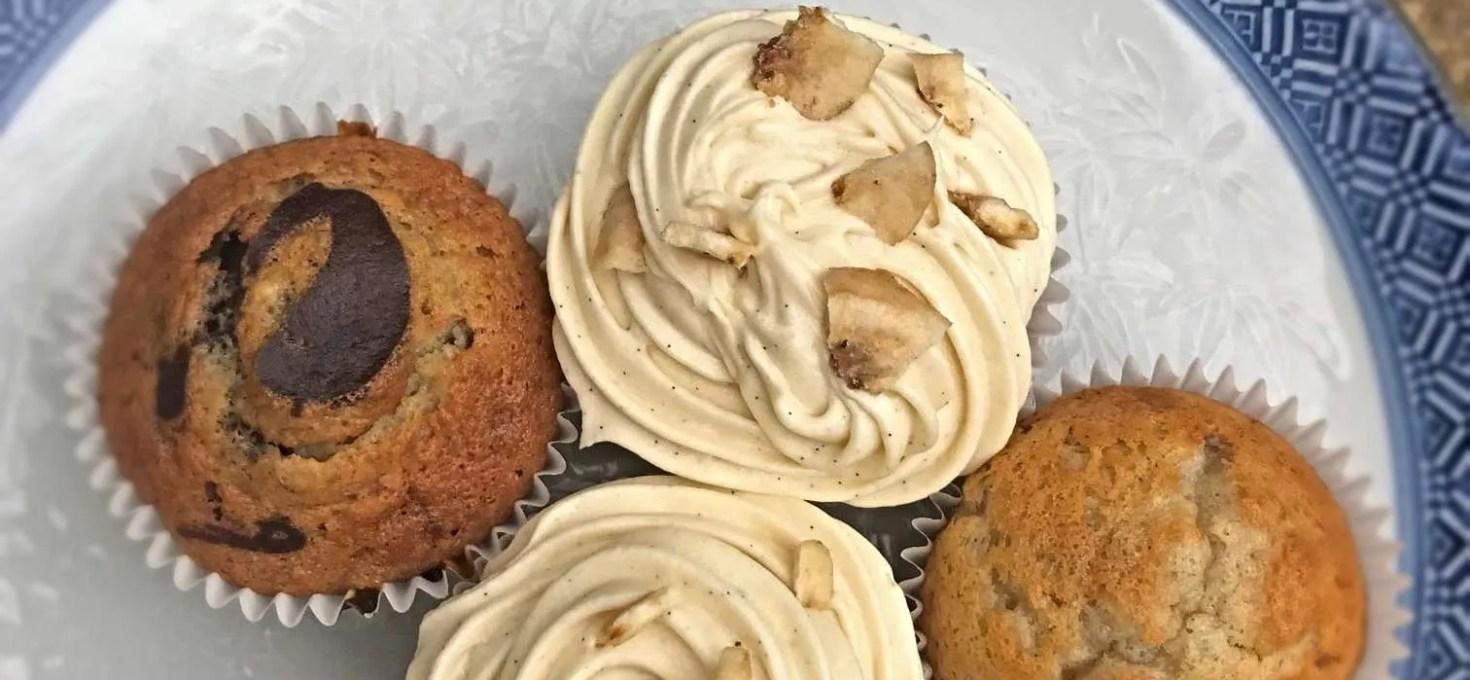Vegan Banana Caramel Chocolate Cupcakes