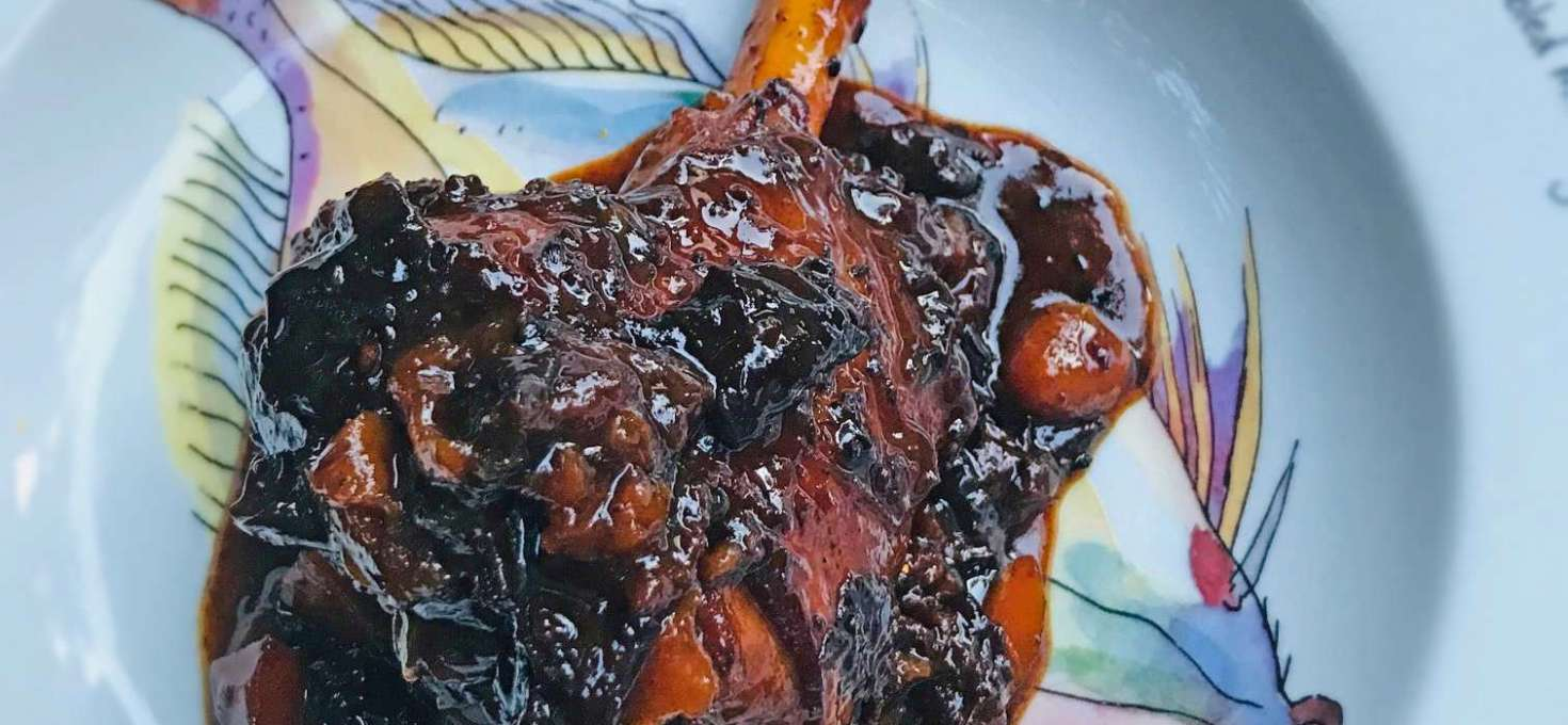 Slow Cooked Lamb Shanks with Prunes and Apricots