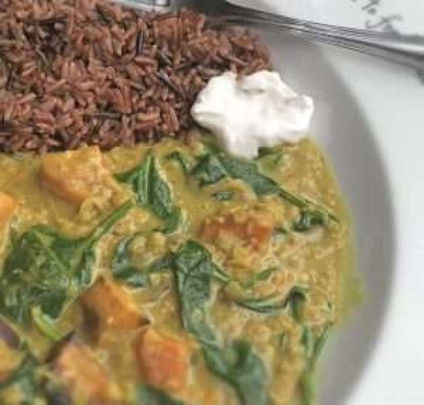 Vegan Roast Sweet Potato and Spinach Curry