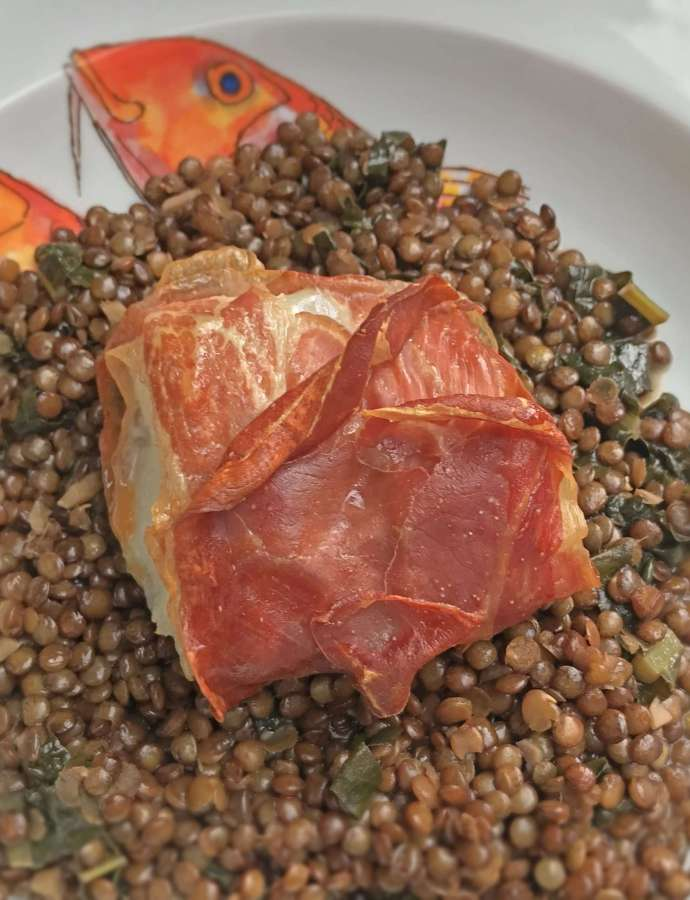 Parma Ham Wrapped Cod and Spicy Lentils