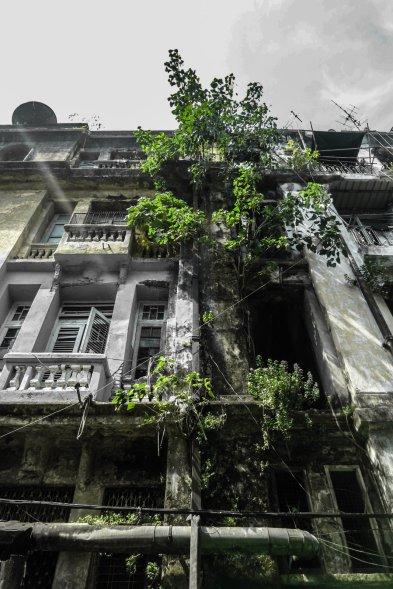 Häuserfassade in Rangun