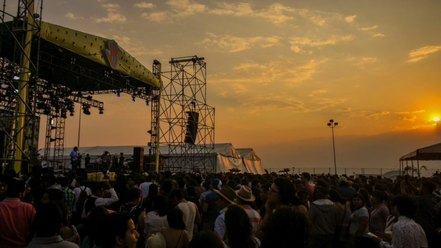 Sonnenuntergang L4TIDO-Festival in Guanajuato