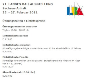 Eintrittspreise LBA